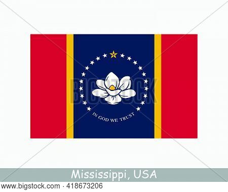 Mississippi Usa State Flag. Flag Of Ms, Usa Isolated On White Background. United States, America, Am