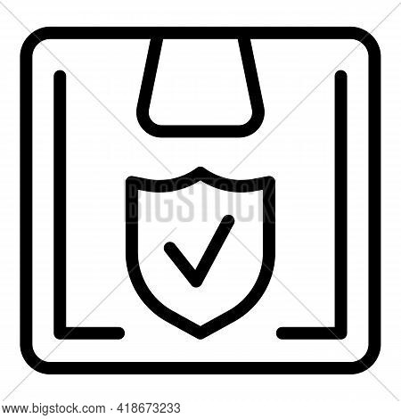 Secured Parcel Icon. Outline Secured Parcel Vector Icon For Web Design Isolated On White Background