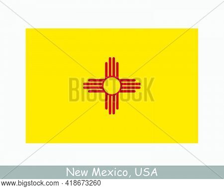 New Mexico Usa State Flag. Flag Of Nm, Usa Isolated On White Background. United States, America, Ame