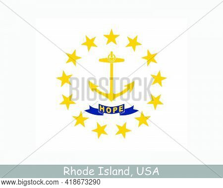 Rhode Island Usa State Flag. Flag Of Ri, Usa Isolated On White Background. United States, America, A