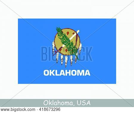 Oklahoma Usa State Flag. Flag Of Ok, Usa Isolated On White Background. United States, America, Ameri