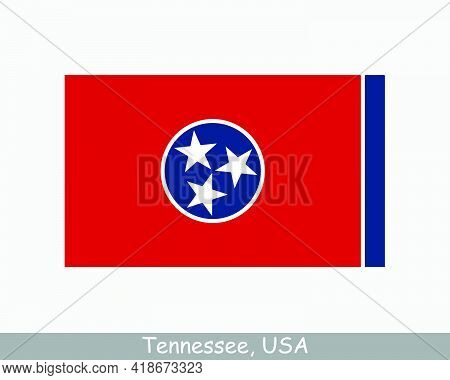 Tennessee Usa State Flag. Flag Of Tn, Usa Isolated On White Background. United States, America, Amer