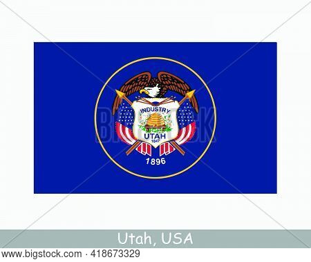 Utah Usa State Flag. Flag Of Ut, Usa Isolated On White Background. United States, America, American,