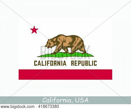 California Usa State Flag. Flag Of Ca, Usa Isolated On White Background. United States, America, Ame
