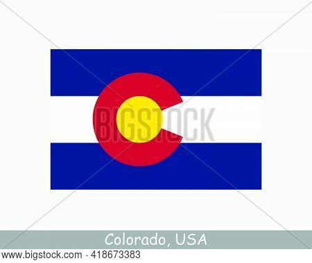 Colorado Usa State Flag. Flag Of Co, Usa Isolated On White Background. United States, America, Ameri