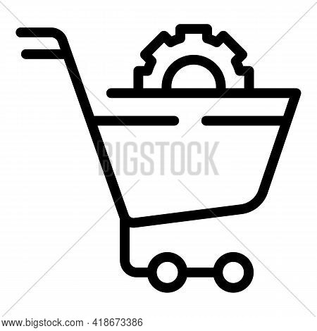 Purchase Cart Icon. Outline Purchase Cart Vector Icon For Web Design Isolated On White Background