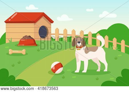 Dog Playing With Ball Outside Near Dog House Illustration. Cartoon Domestic Animal With Collar On Hi