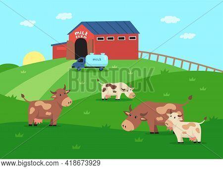 Milk Farm With Happy Cow Characters Eating Grass Illustration. Farm Domestic Animals, Milk Truck, Ba
