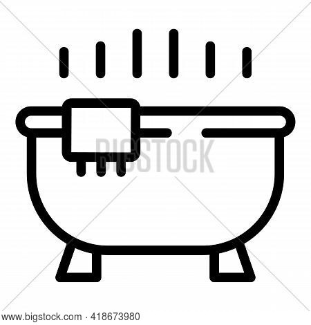 Evening Bath Icon. Outline Evening Bath Vector Icon For Web Design Isolated On White Background