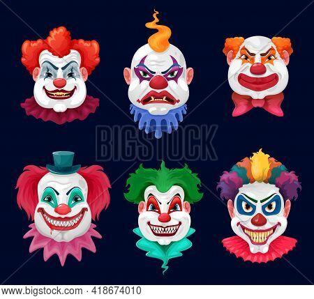 Horror Clown And Scary Circus Monster Faces Cartoon Vector Design Of Halloween Holiday. Evil Clown O