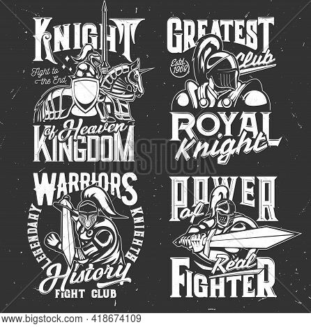 Knight In Helmet, Warrior With Shield Armor And Sword, Vector Medieval Spartan On Horse. Fight Club