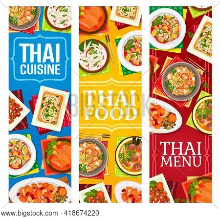 Thai Food Restaurant Dishes Posters. Shrimp Noodles Pad Thai, Sweet And Sour Pork, Fried Rice And Ba