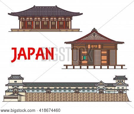 Japan And Japanese Travel Landmarks, Temple Buildings And Shinto Buddha Architecture, Vector. Japane