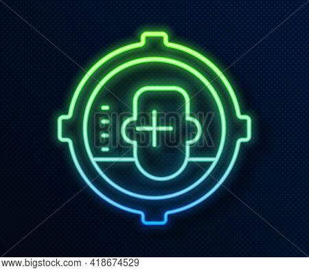 Glowing Neon Line Headshot Icon Isolated On Blue Background. Sniper And Marksman Is Shooting On The