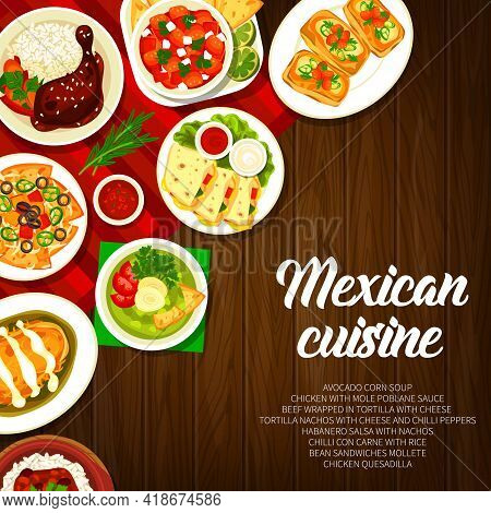 Mexican Cuisine Restaurant Dishes Banner. Chicken With Mole Poblano Sauce, Mollete Sandwiches And Ha