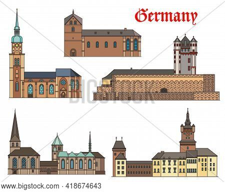 Germany Landmark Buildings Architecture, Castles And Cathedral Houses, German Cities, Vector. St Rei