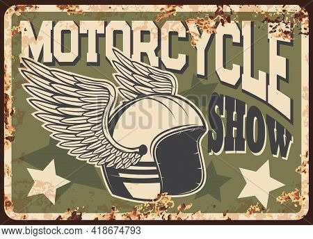 Custom And Classic Motorcycles Show Rusty Metal Plate. Vintage Motorbikes Exhibition Or Club Event T