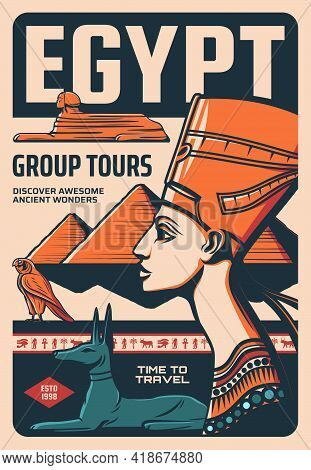 Egypt Group Tours Retro Vector Poster, Ancient Egyptian Culture Discover Vintage Card With Nefertiti