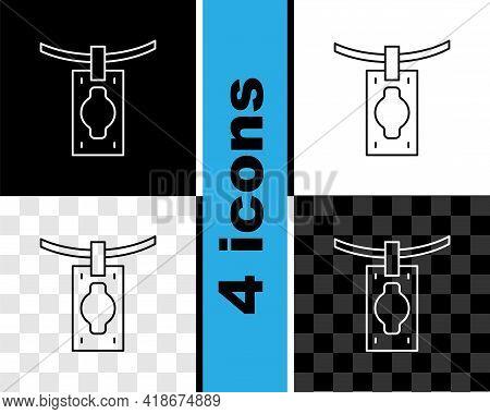 Set Line Money Laundering Icon Isolated On Black And White, Transparent Background. Money Crime Conc