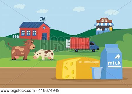 Carton Of Milk And Cheese In Front Of Milk Farm Illustration. Happy Cow Eating Grass, Truck Loading