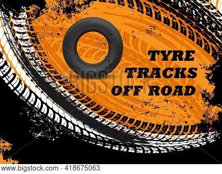 Car Off Road Tyres Tracks Grungy Background. Vehicle Rubber Tire, Automobile Wheel Protector Trails,