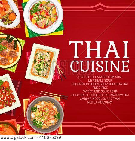 Thai Cuisine Restaurant Dishes Poster. Lamb Curry, Shrimp Noodles Pad Thai And Fried Rice, Grapefrui