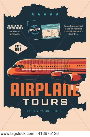 Airplane Tours, Airline Travel Service Retro Banner. Air Journey Plans, Passenger Transportation Pos