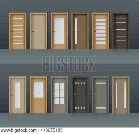 Interior Doors Vector Realistic Design Elements For Room Or Office Decoration, 3d Wooden Brown And G
