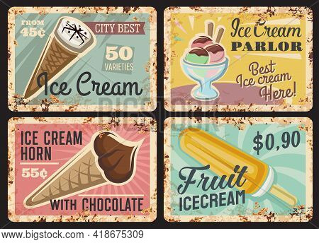 Icecream Shop Rusty Metal Plates. Fast Food Cafe, Parlour Or Gelateria Grunge Vector Tin Signs, Froz