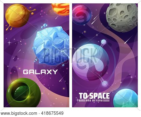Galaxy Fantasy Worlds, Alien Planets Systems In Space Background. Ice, Gas And Water Surface Planets