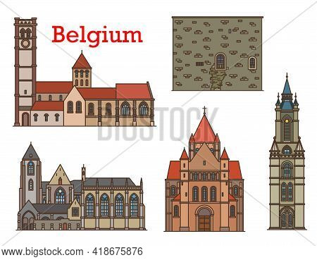 Belgium Architecture And Travel Landmarks, Vector Buildings Cathedrals And Churches Of Leuven, Tourn
