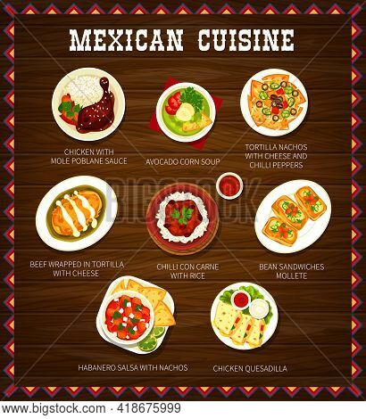 Mexican Cuisine Menu Meals With Meat, Cheese And Rice. Chicken With Mole Poblano Sauce, Avocado Corn