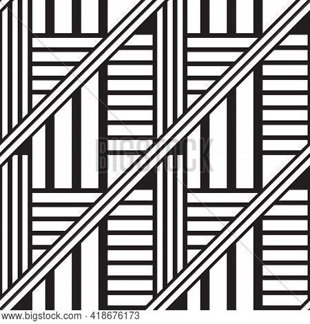 Black Linear Chaos Geometric Seamless Pattern Design. Diagonal, Parallel, Perpendicular Stripes Isol