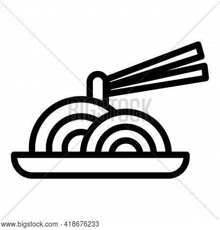 Korean Soba Icon. Outline Korean Soba Vector Icon For Web Design Isolated On White Background