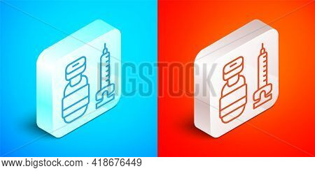 Isometric Line Medical Syringe With Needle Icon Isolated On Blue And Red Background. Vaccination, In