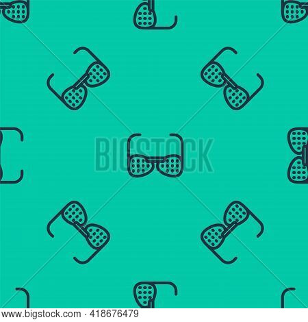 Blue Line Glasses For The Blind And Visually Impaired Icon Isolated Seamless Pattern On Green Backgr