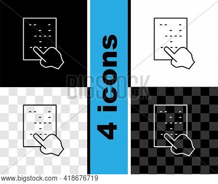 Set Line Braille Icon Isolated On Black And White, Transparent Background. Finger Drives On Points.