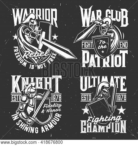 Knight Warrior With Shield And Sword T-shirt Print, Fighters Club Vector Emblem. Medieval Gothic Kni