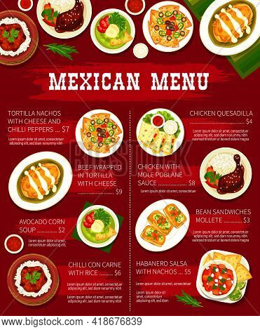 Mexican Food Restaurant Dishes Menu Template. Tortilla Nachos With Cheese, Beef Tortilla Wrap And Av