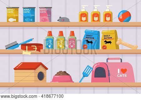 Shelves With Goods In Pet Shop Vector Illustration. Items For Pets, Dog And Cat Food, Shampoo, Toy M