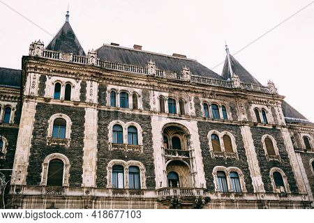 Facade Of The Beautiful Old Dreschler Palace, Former Ballet Institute, In Budapest At Daytime