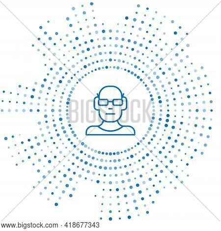 Blue Line Poor Eyesight And Corrected Vision With Optical Glasses Icon Isolated On White Background.