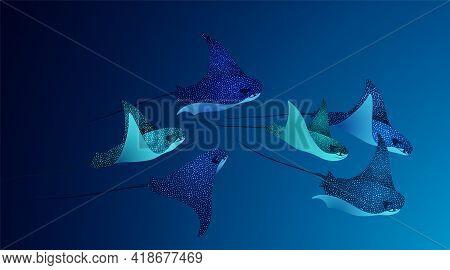 Manta Ray Fishes, Marine Animals, Sea Creatures Set Vector Illustration. Blue Turquoise Eagle Ray Fi