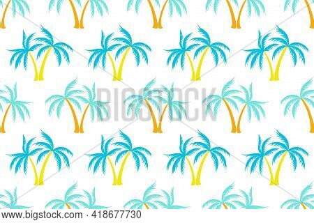 Cartoon Coconut Tropical Palm Tree Seamless Pattern Summer Holiday Vector Print. Exotic Leaves Tropi
