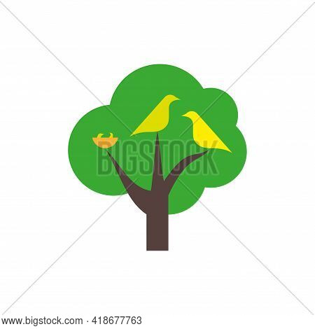 Birds Family With Nest Icon. Green Tree, Nest With Nestlings. Flat Style Vector Illustration Isolate