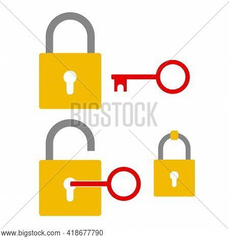 Padlock Open And Closed. Key In Keyhole. Hanging Padlock. Flat Style Vector Illustration Isolated On
