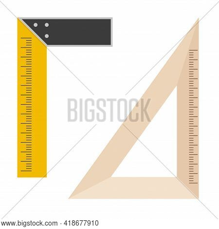 Metal And Wood Square Measuring Tool. L-square And School Angle Ruler. Set Square Or Triangle Tool.