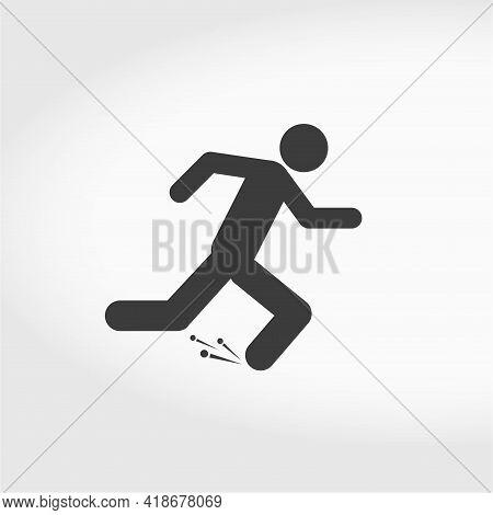 Man Fast Run Icon, Rush, Runner, Running Man. Flat Style Vector Illustration Isolated On White Backg