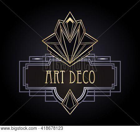 Art Deco Vintage Gold And Silver Design Element Over Black. Retro Party Geometric Background Set 192