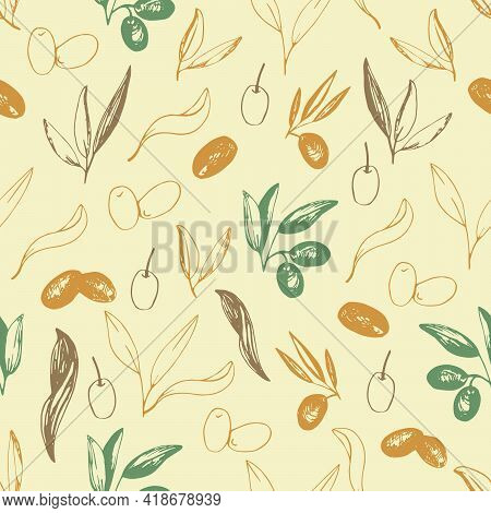 Olives Seamless Pattern In Vector